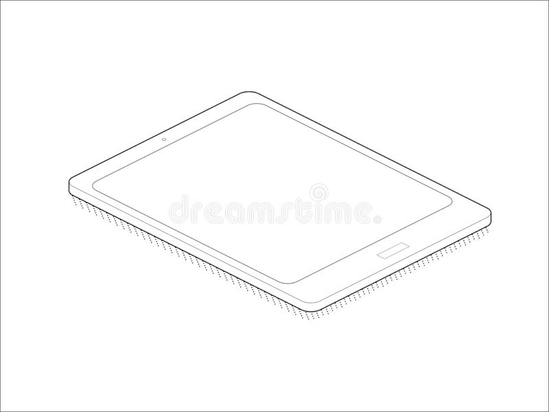 Icono isométrico de la tecnología Icono isométrico Diseño aislado isométrico de la tableta en el fondo blanco Isométrico conceptu ilustración del vector