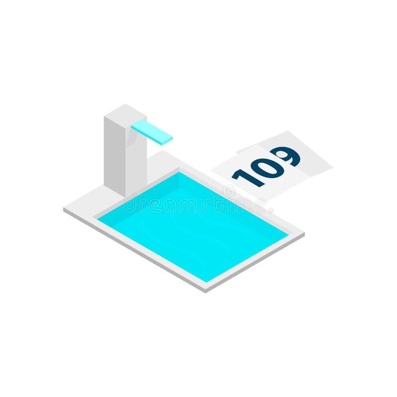 Icono isométrico de la torre 3d de la piscina stock de ilustración