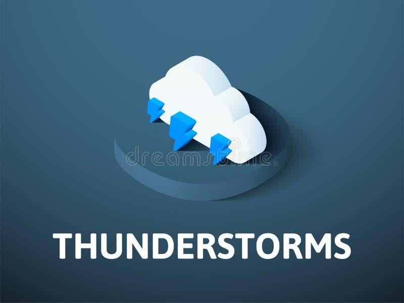 Icono isométrico de las tempestades de truenos, aislado en fondo del color ilustración del vector