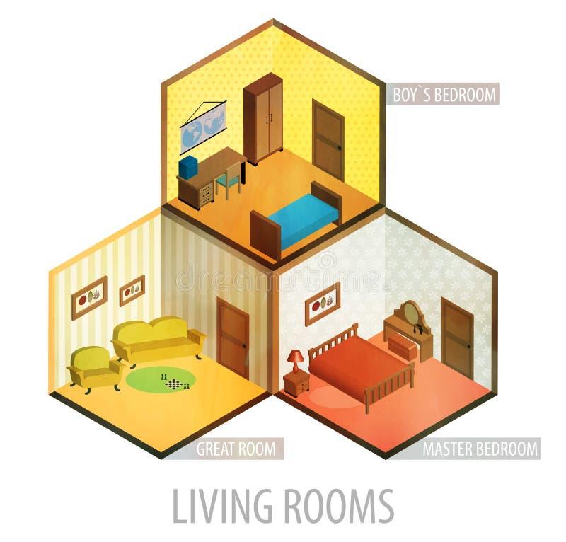 Icono isométrico de los cuartos del vector libre illustration