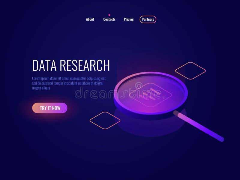 Icono isométrico de proceso de datos grande, lupa, información que busca y que estructura, filtración de muestreo de los datos stock de ilustración