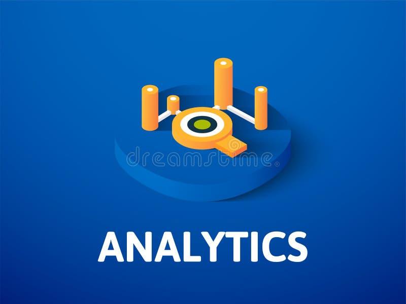 Icono isométrico del Analytics, aislado en fondo del color libre illustration