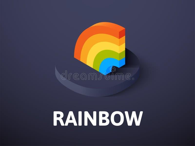 Icono isométrico del arco iris, aislado en fondo del color libre illustration