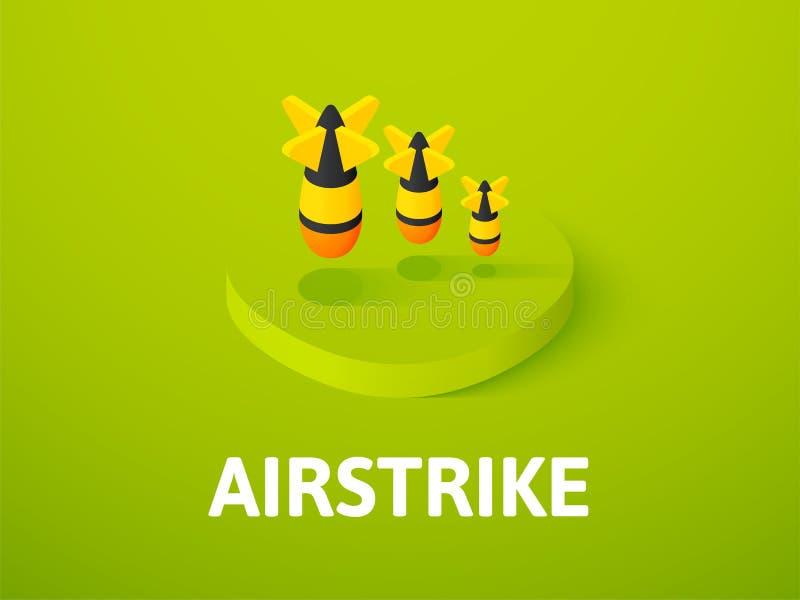 Icono isométrico del ataque aéreo, aislado en fondo del color libre illustration