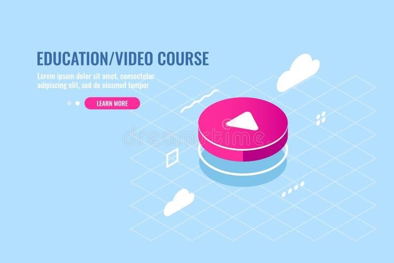 Icono isométrico del botón de reproducción redondo rojo, reproductor multimedia, contenido video, almacenamiento de los ficheros  ilustración del vector