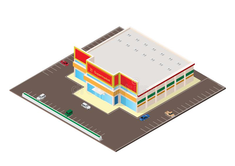 Icono isométrico del edificio del centro comercial o del supermercado stock de ilustración