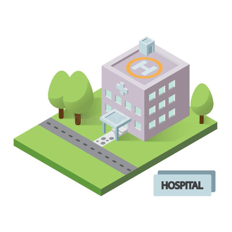 Icono isométrico del edificio del hospital ilustración del vector