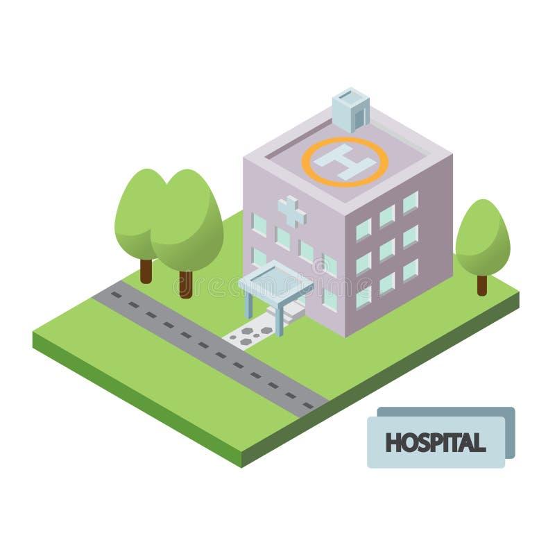 Icono isométrico del edificio del hospital stock de ilustración