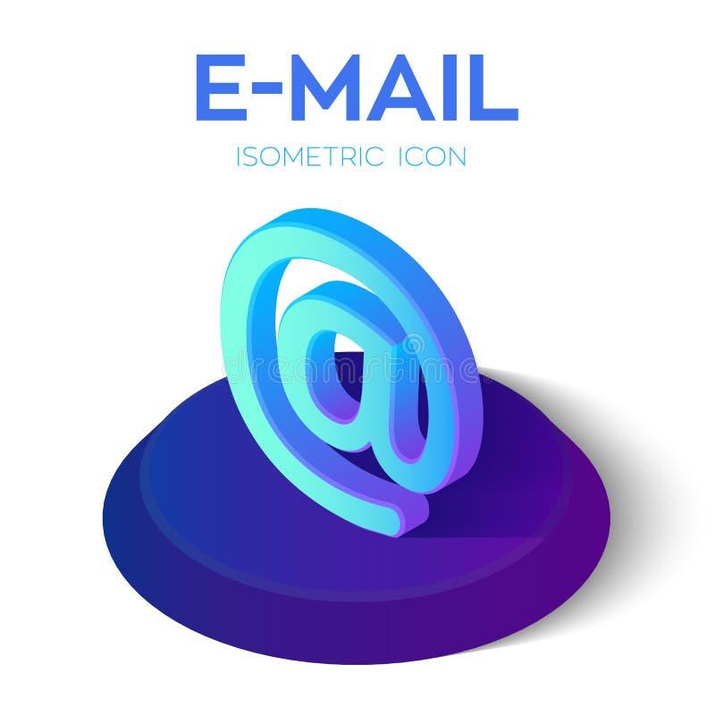 Icono isométrico del email muestra isométrica del correo electrónico 3D Creado para el móvil, web, decoración, productos de la im libre illustration