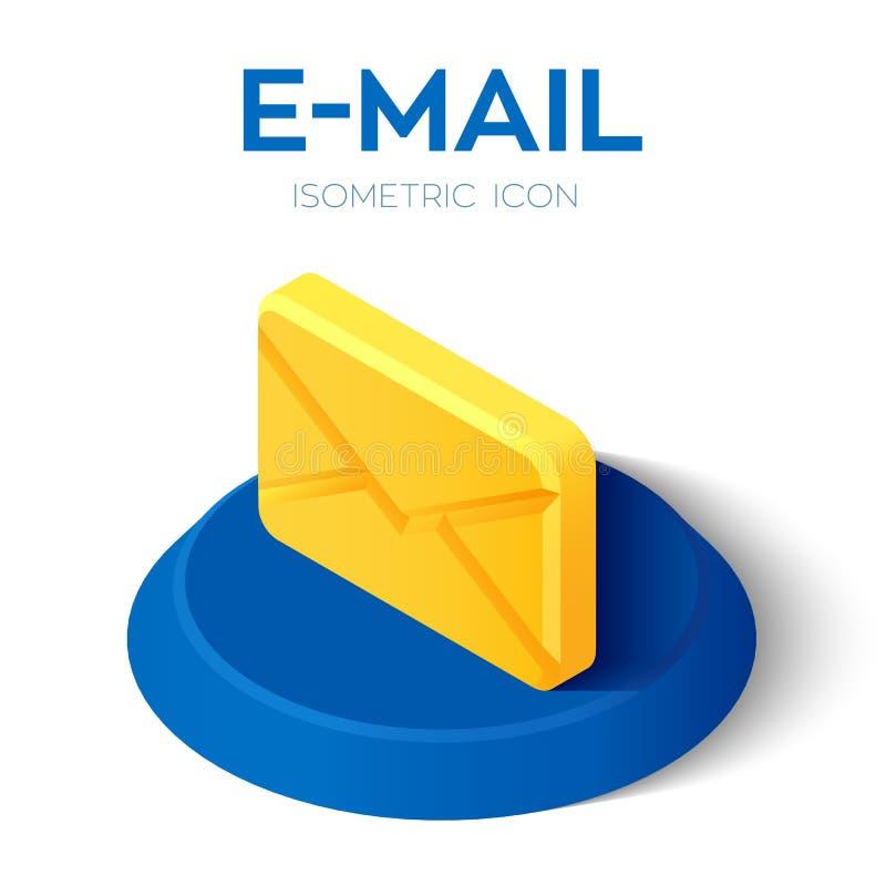 Icono isométrico del email muestra isométrica del correo electrónico 3D Creado para el móvil, web, decoración, productos de la im ilustración del vector
