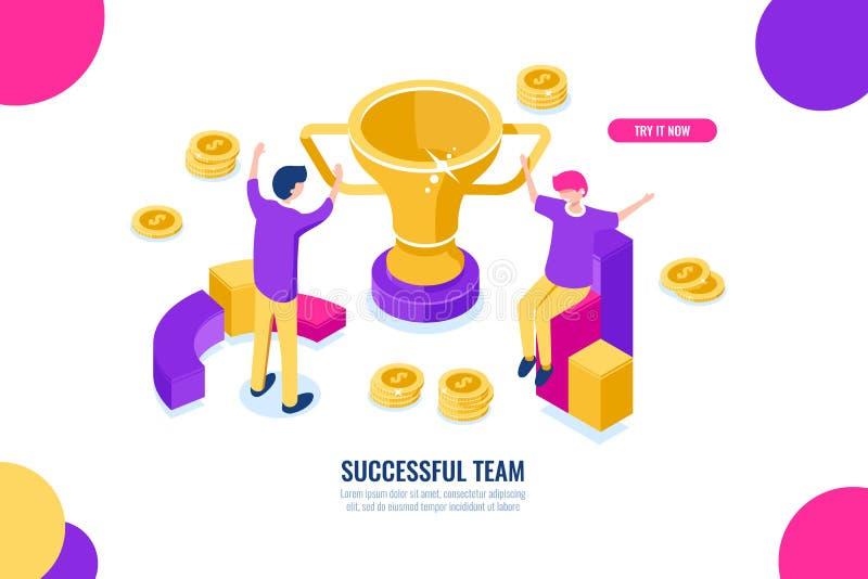Icono isométrico del equipo del éxito, soluciones del negocio, celebración de victoria, hombres de negocios felices de la histori ilustración del vector