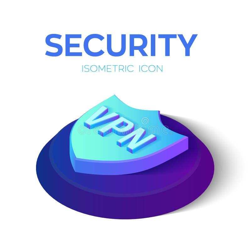Icono isométrico del escudo de la seguridad VPN - icono virtual de la red privada muestra isométrica del escudo de la seguridad 3 ilustración del vector