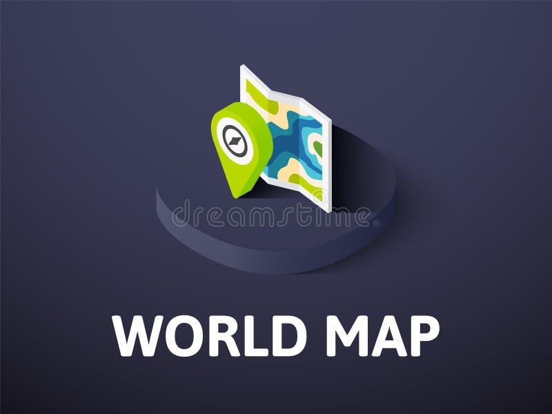 Icono isométrico del mapa del mundo, aislado en fondo del color libre illustration