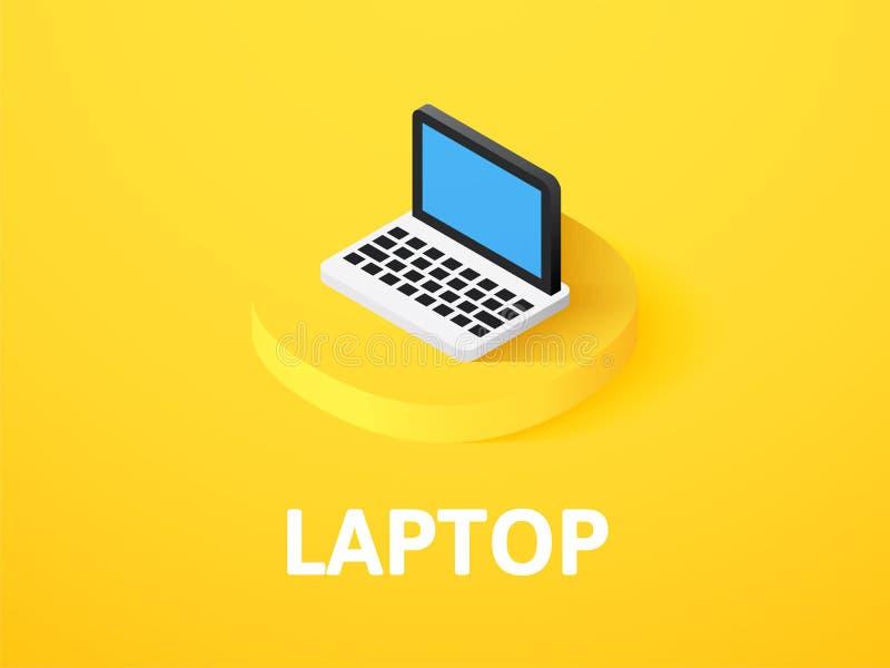 Icono isométrico del ordenador portátil, aislado en fondo del color libre illustration