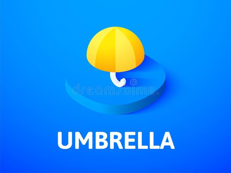 Icono isométrico del paraguas, aislado en fondo del color libre illustration