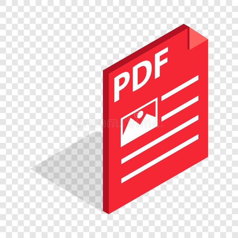 Icono isométrico del pdf del formato de archivo del documento ilustración del vector