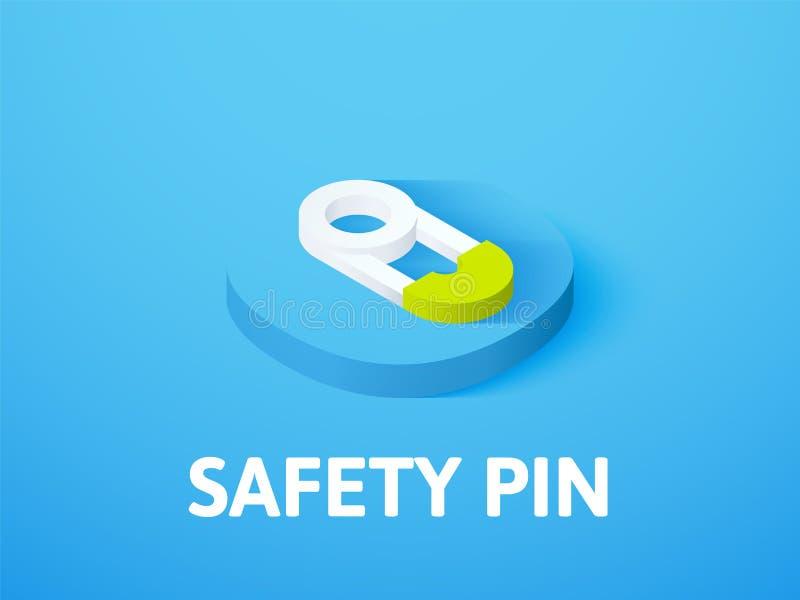 Icono isométrico del perno de seguridad, aislado en fondo del color libre illustration