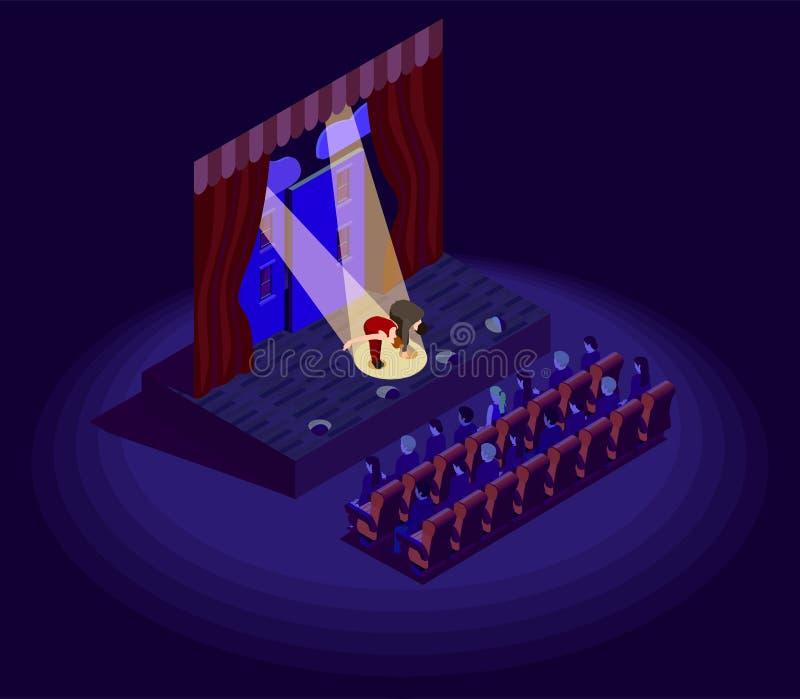 Icono isométrico del teatro ilustración del vector