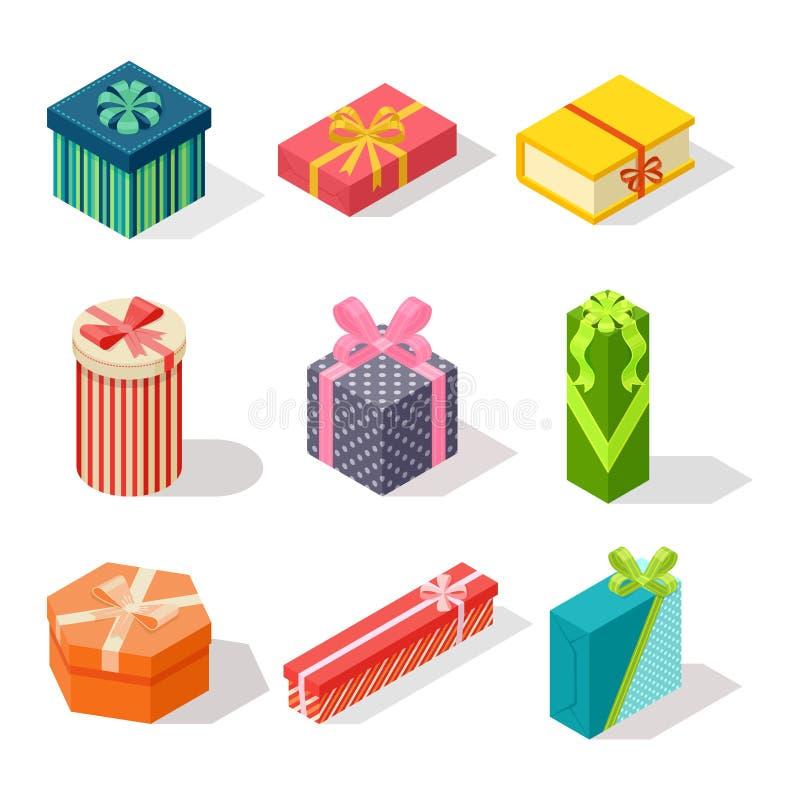 Icono isométrico del vector de la caja de regalo aislado stock de ilustración