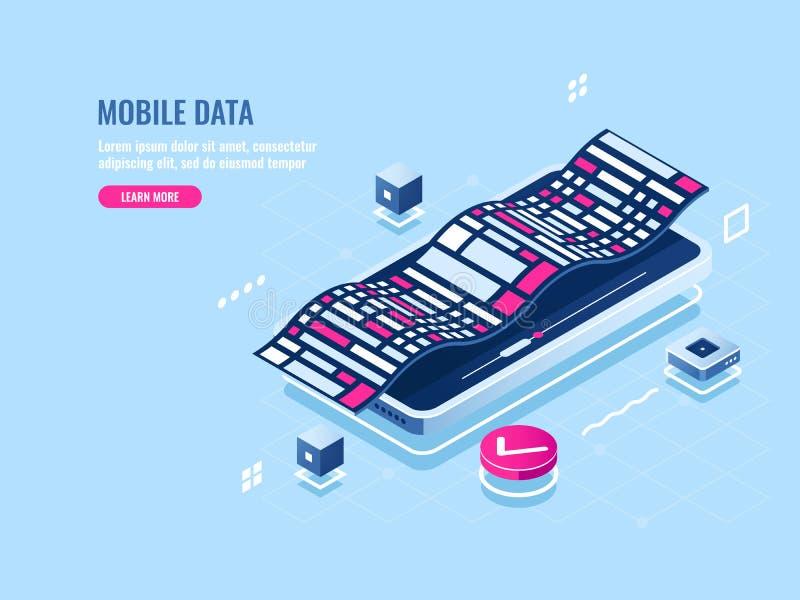 Icono isométrico programado del software móvil, uso del teléfono móvil, visualización del desarrollo de los datos digitales stock de ilustración