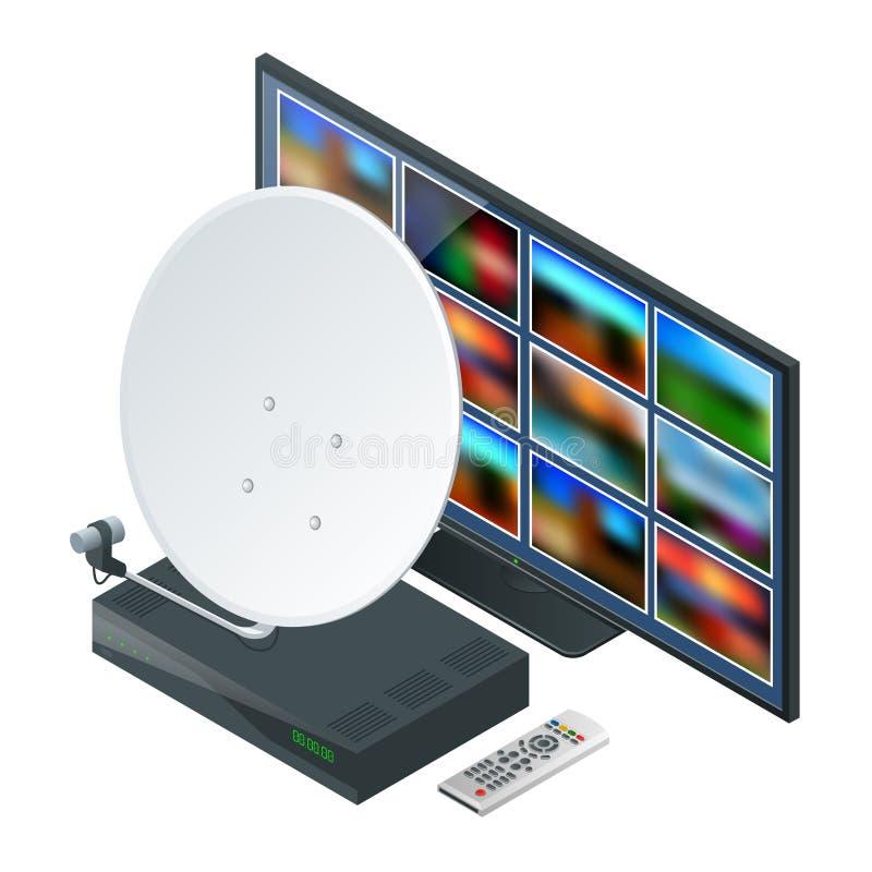 Icono isométrico una antena, un telecontrol y receptor para la TV vía satélite y la TV en blanco Tecnología inalámbrica y global ilustración del vector