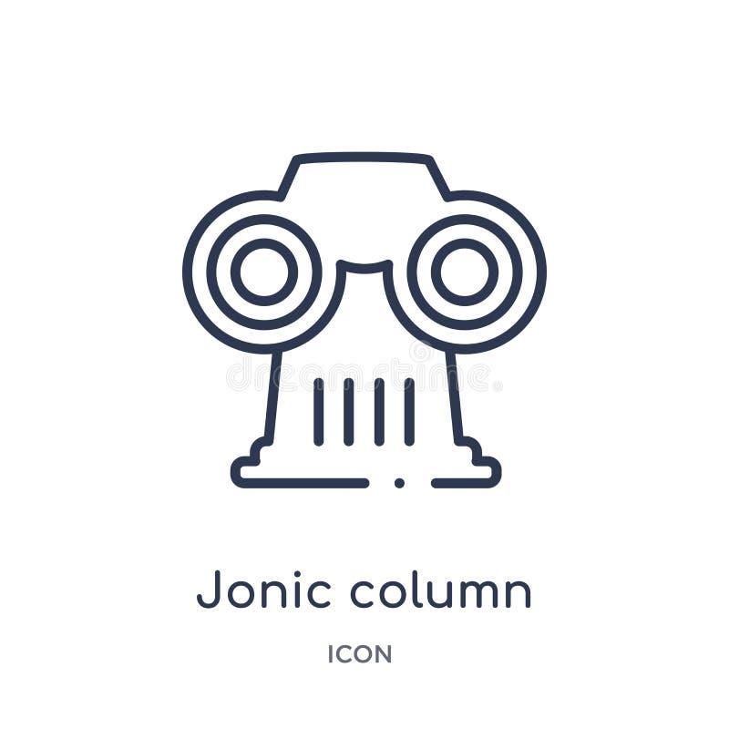 Icono jonic linear de la columna de la colección del esquema de Grecia Línea fina icono jonic de la columna aislado en el fondo b libre illustration