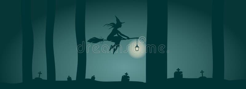 Icono joven de la bruja que vuela Silueta de la bruja en un palo de escoba stock de ilustración