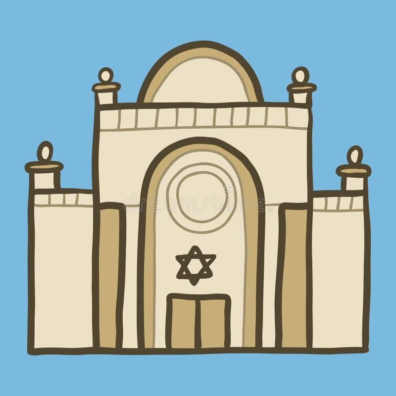 Icono judío de la sinagoga, estilo exhausto de la mano ilustración del vector