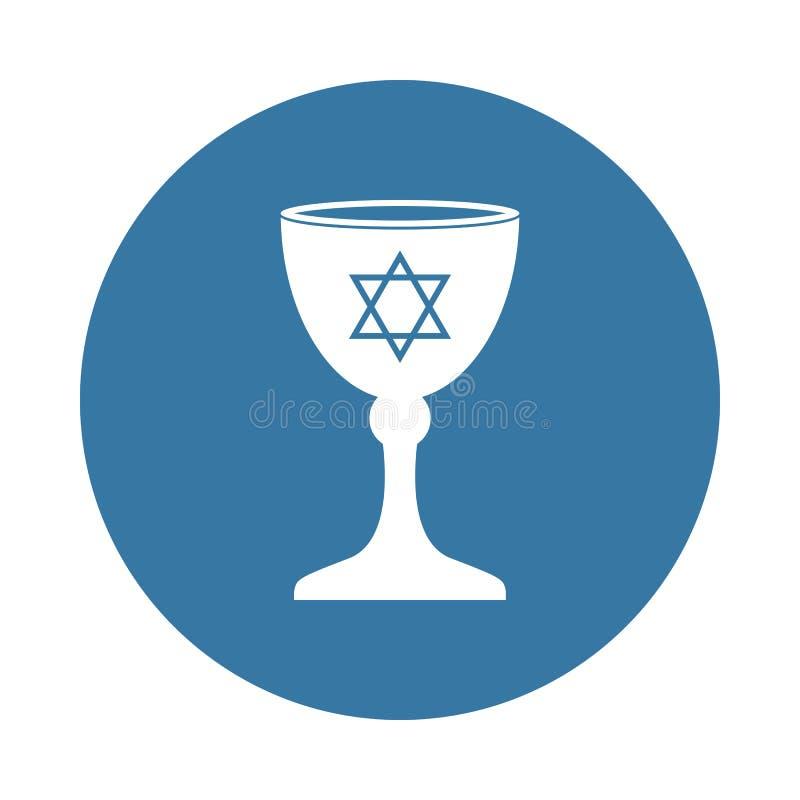 Icono judío del cuenco en estilo de la insignia ilustración del vector