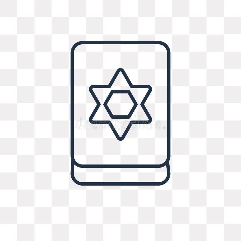 Icono judío del vector aislado en el fondo transparente, Je linear stock de ilustración