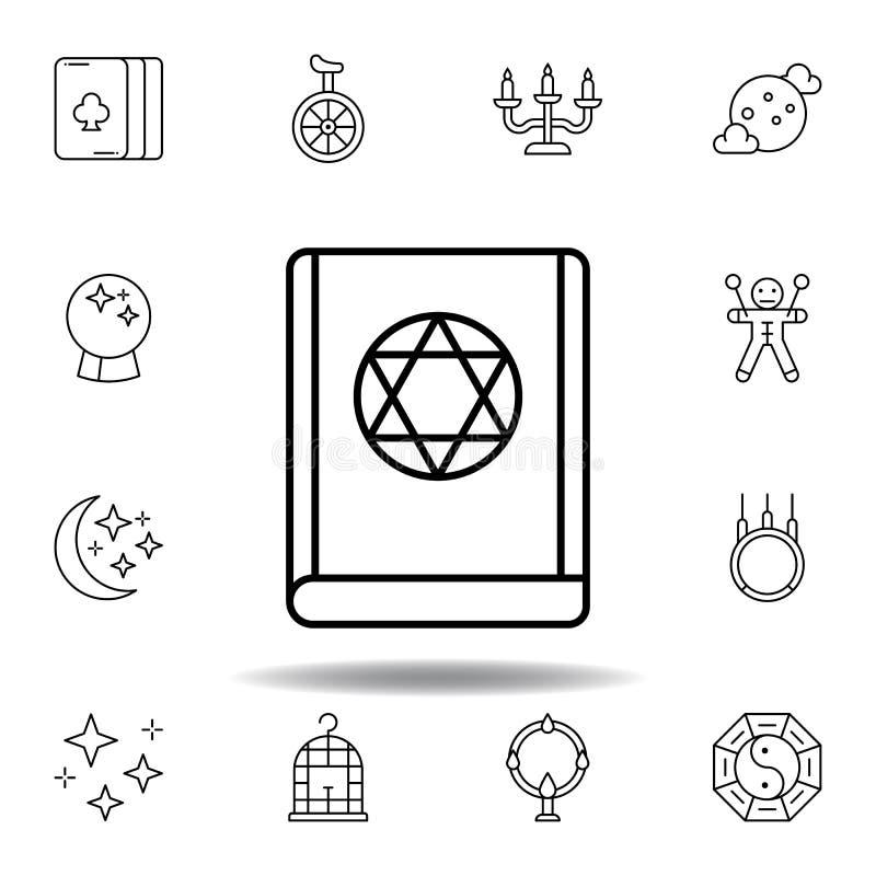 Icono jud?o m?gico del esquema del libro elementos de la línea mágica icono del ejemplo las muestras, símbolos se pueden utilizar stock de ilustración