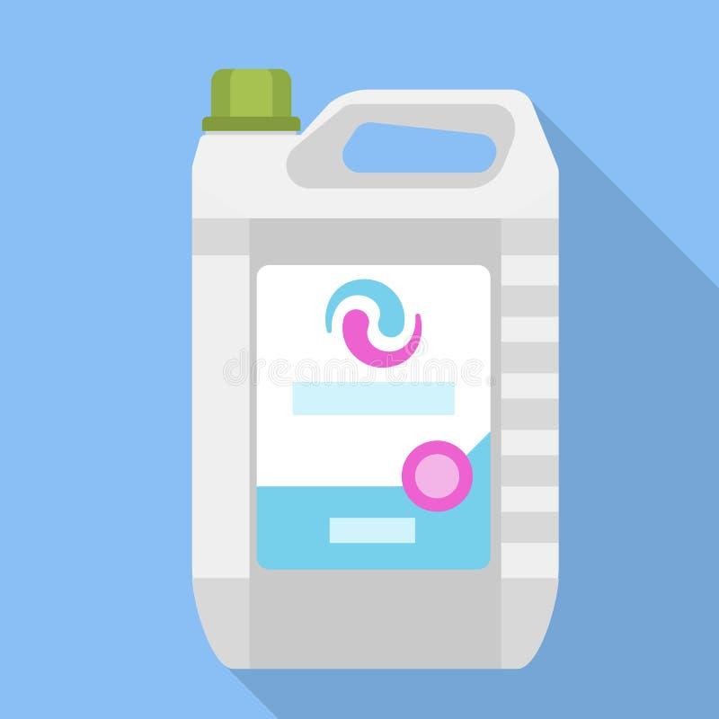 Icono líquido del bote del lavado, estilo plano stock de ilustración