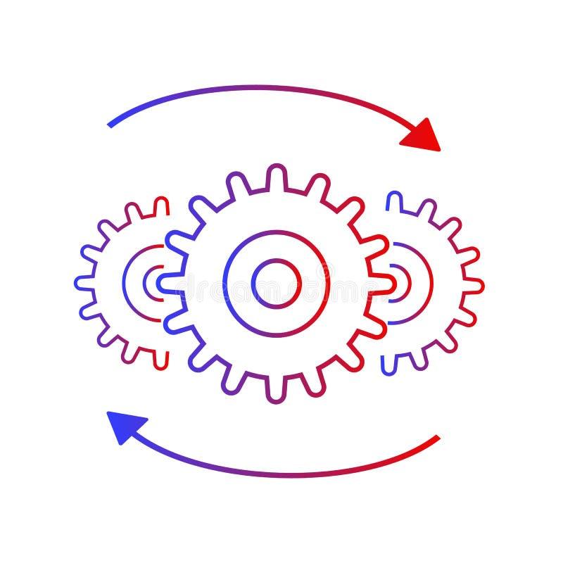 Icono a la derecha del vector de los engranajes stock de ilustración