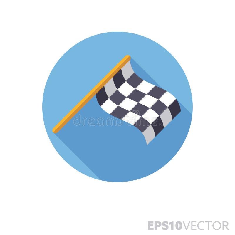 Icono largo a cuadros del vector de la sombra co0lor del diseño plano de la bandera que compite con ilustración del vector