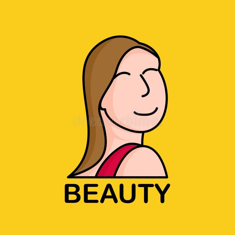 Icono largo de la mujer de los pelos ilustración del vector