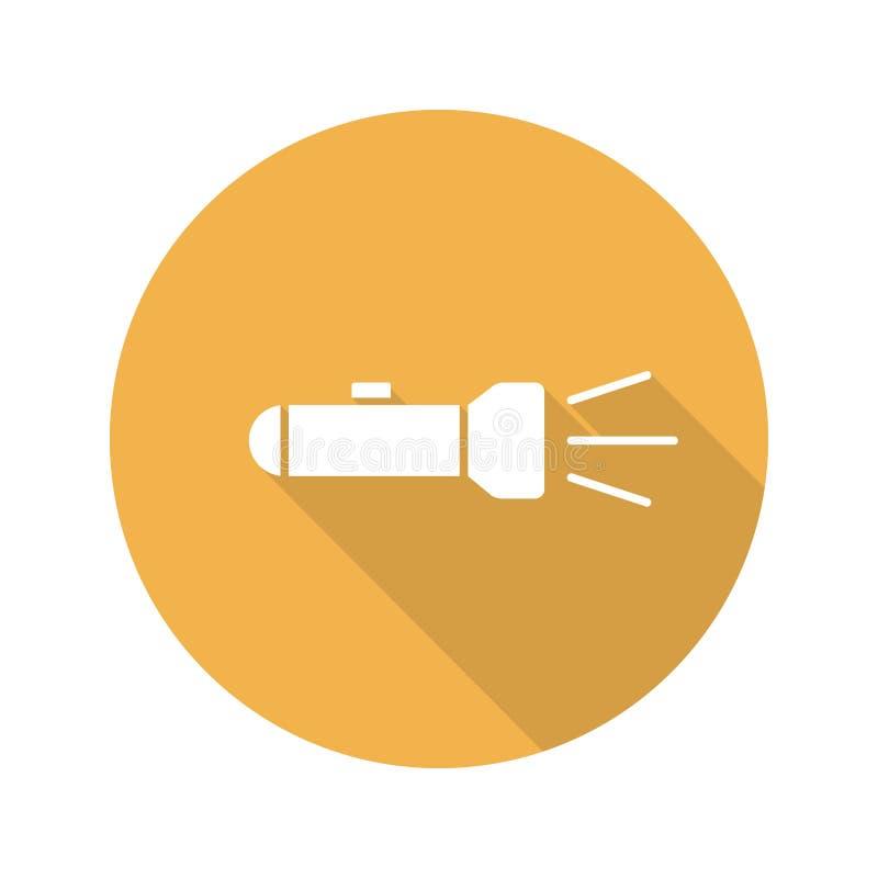 Icono largo de la sombra del diseño plano de la linterna ilustración del vector