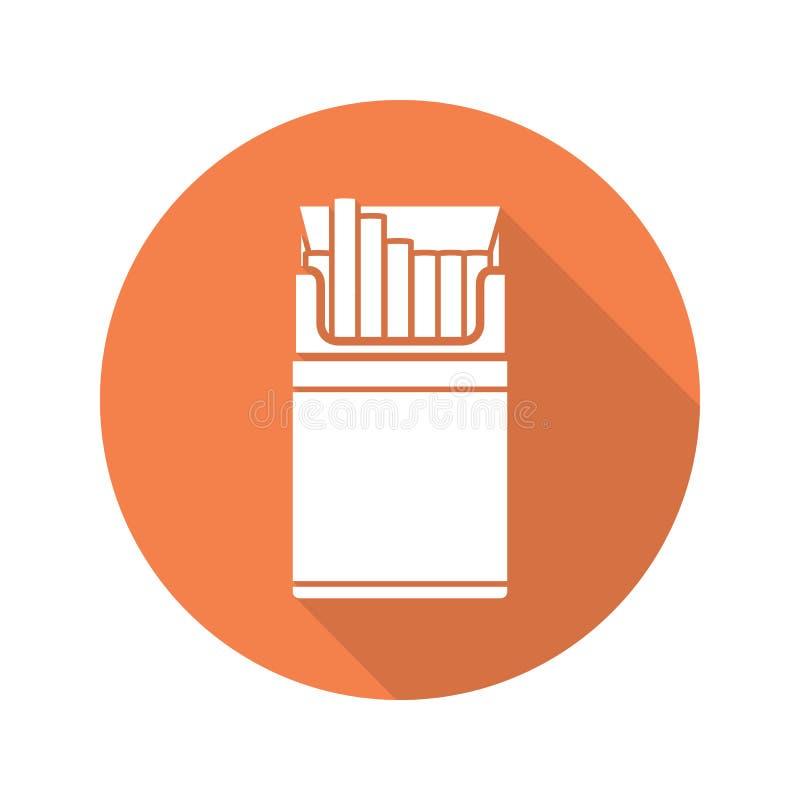 Icono largo de la sombra del diseño plano del paquete del cigarrillo stock de ilustración