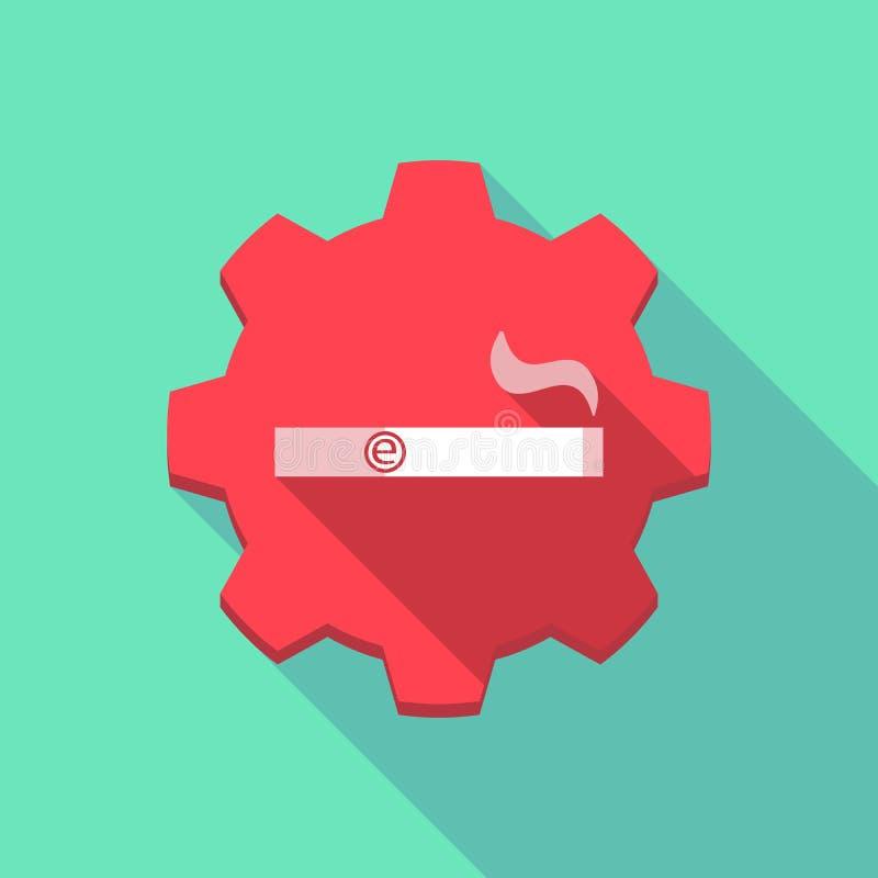 Icono largo del engranaje de la sombra con un cigarrillo electrónico ilustración del vector
