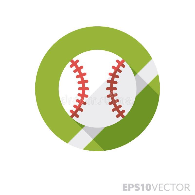Icono largo del vector del color de la sombra del diseño plano de la bola del béisbol ilustración del vector