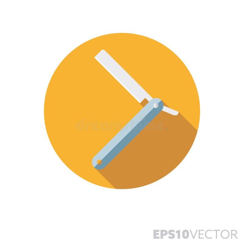 Icono largo del vector del color de la sombra del diseño plano del cuchillo del peluquero stock de ilustración