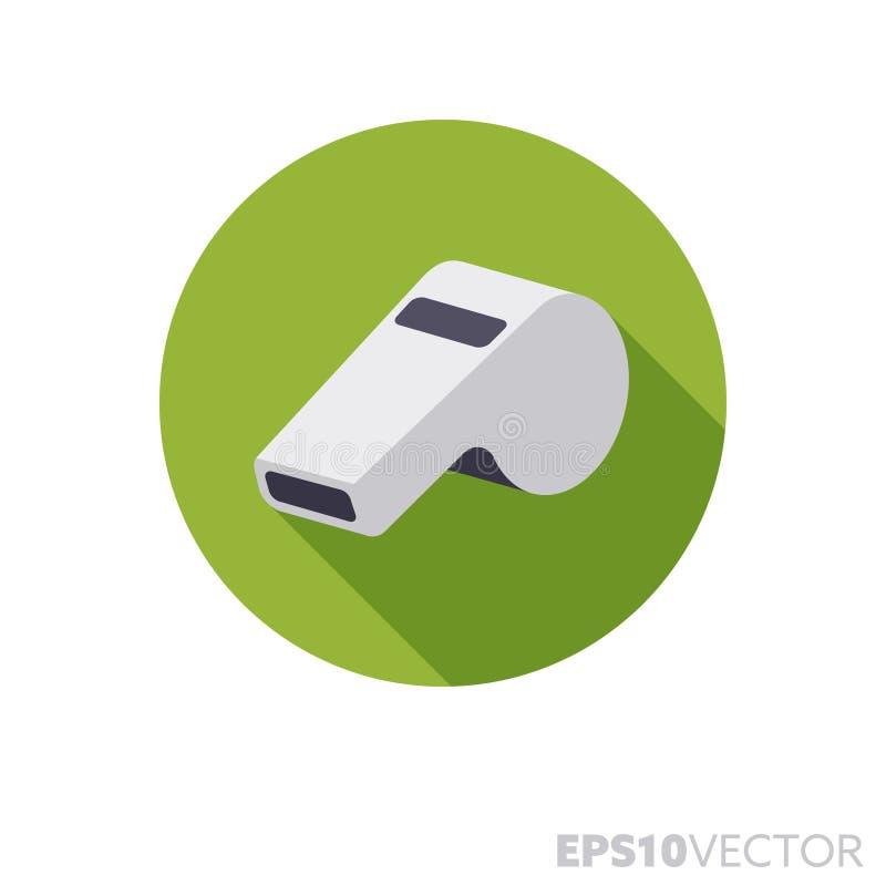 Icono largo del vector del color de la sombra del diseño plano del whistel del árbitro stock de ilustración