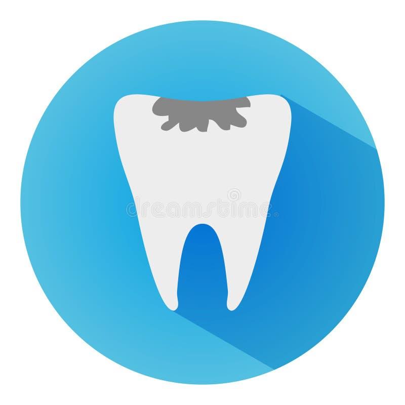 Icono largo del vector de la sombra de la carie del diente El estilo es una carie plana del diente en fondo azul imagen de archivo libre de regalías