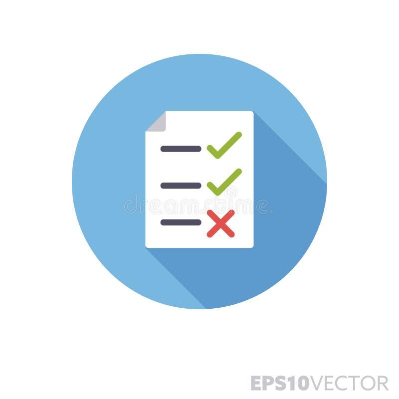 Icono largo fallado del vector del color de la sombra del diseño plano de la lista de control de control de calidad libre illustration