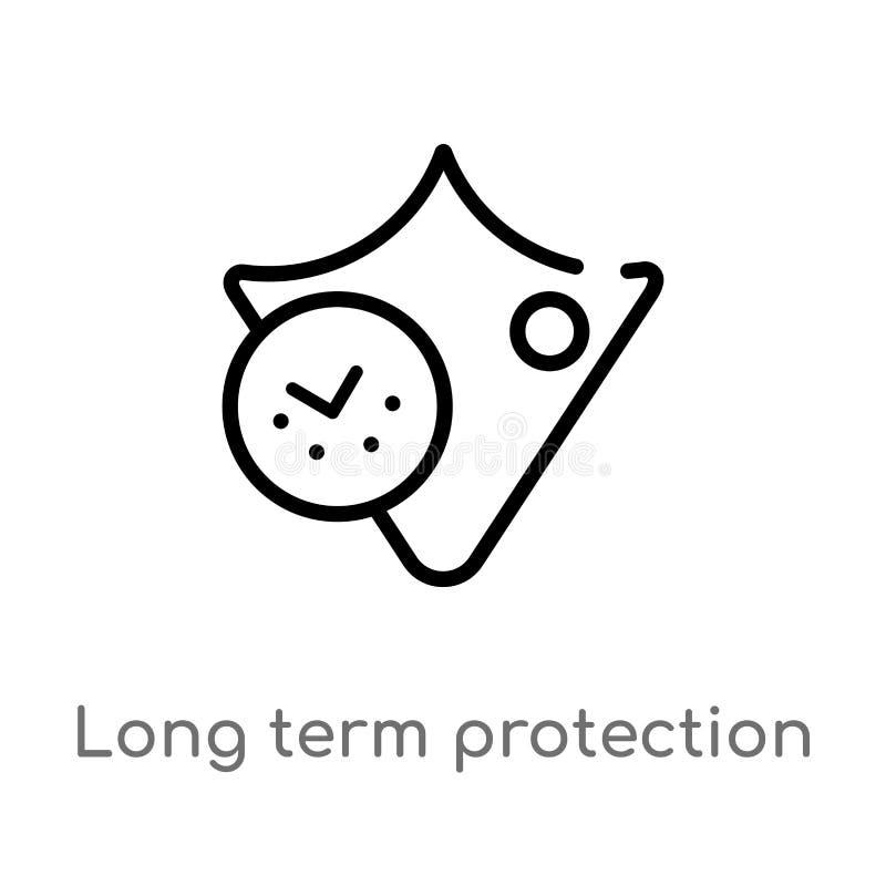 icono a largo plazo del vector de la protección del esquema r Vector Editable libre illustration