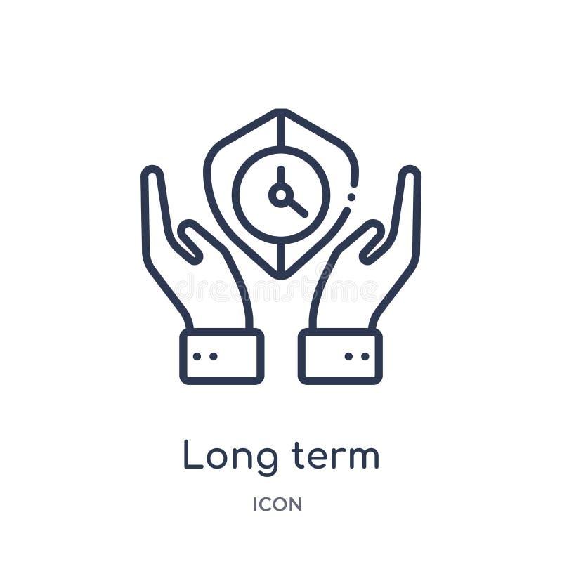 Icono a largo plazo linear de la protección de la colección del esquema del seguro Línea fina icono a largo plazo de la protecció stock de ilustración