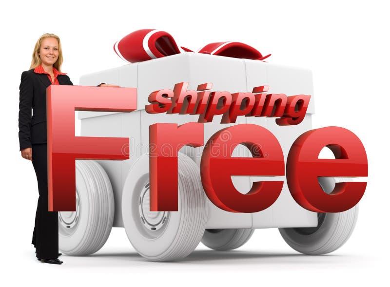 Icono libre del envío - mujer de negocios - rojo ilustración del vector