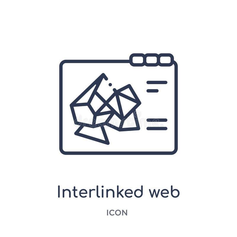 Icono ligado de la web del esquema de la web ilustración del vector