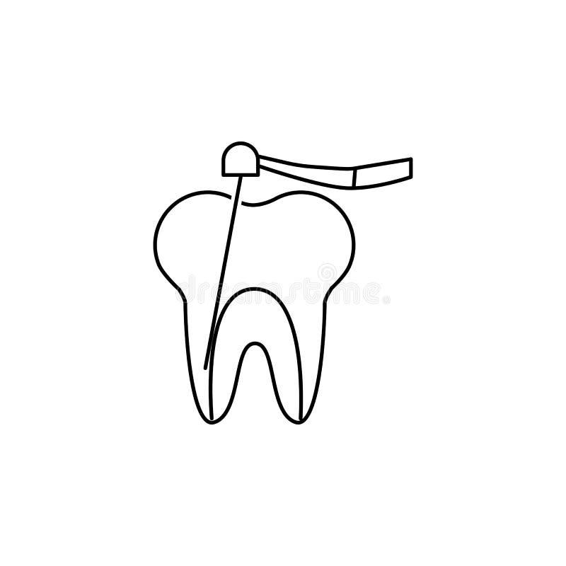 Icono ligero de curado ultravioleta dental de la herramienta Muestra de la estomatología Símbolo del cuidado dental Muestras del  ilustración del vector