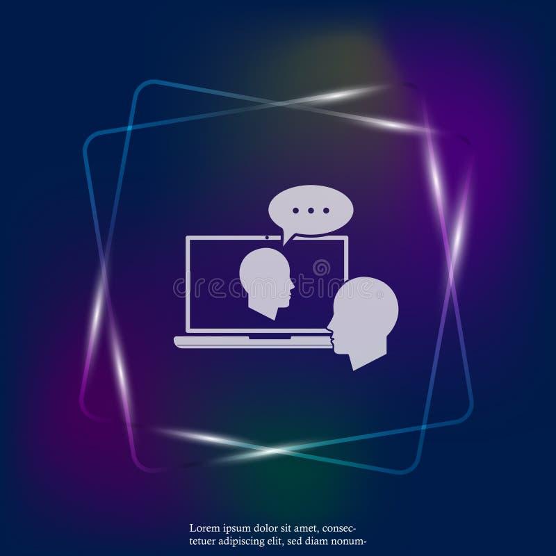 Icono ligero de neón del entrenamiento en línea Entrenamiento remoto del web Símbolo de ilustración del vector