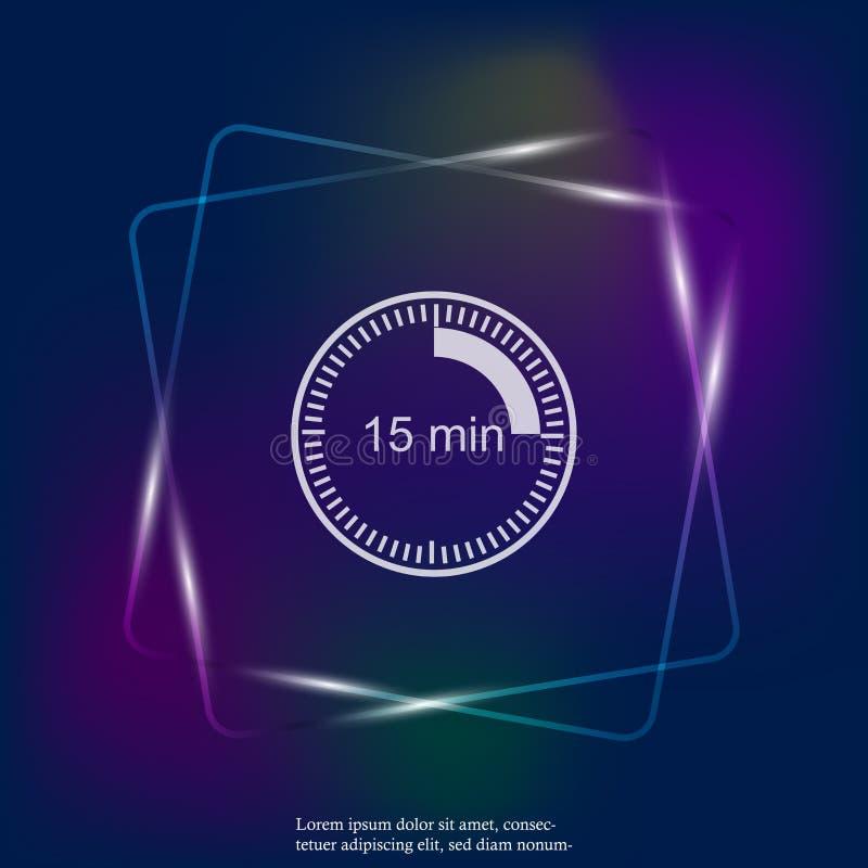 Icono ligero de neón del reloj que indica el intervalo de tiempo de 15 minutos libre illustration
